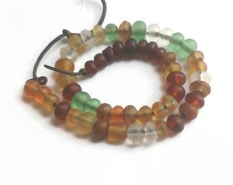 Matte ochre, yellow transparent and green spacer bead set