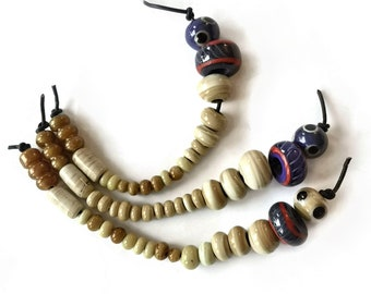16 viking beads, IVORY -  Kaupang, Norway historical replica handmade glass beads