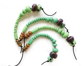 16 viking beads, GREEN -  Kaupang, Norway historical replica handmade glass beads