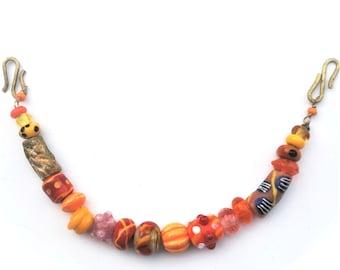 Handmade viking beads, Orange and pink Viking necklace for apron dress.
