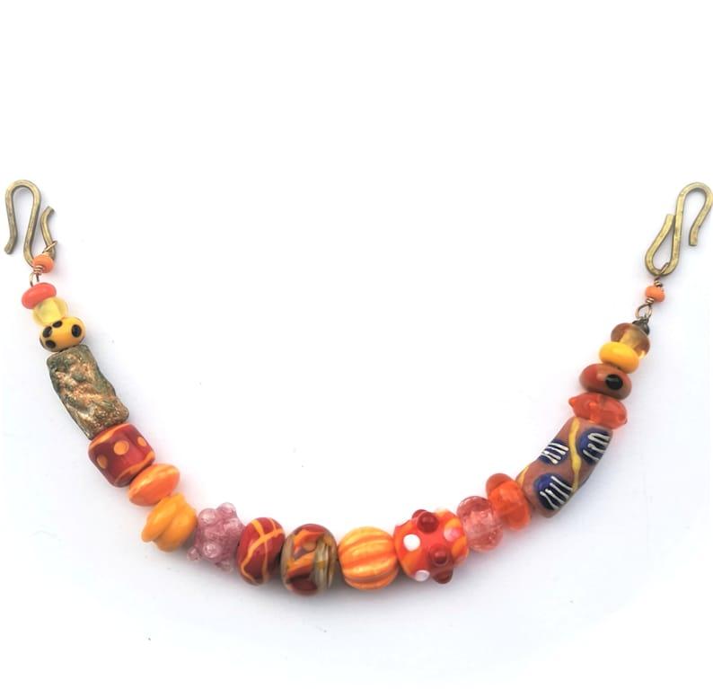 Handmade viking beads Orange and pink Viking necklace for image 1