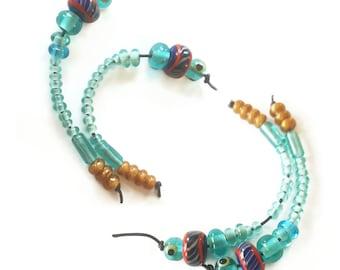 16 viking beads, Transparent turqoise/light blue  -  Kaupang, Norway historical replica handmade glass beads