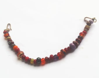Handmade viking beads necklace, Red, green brown small beads for Viking apron dress.