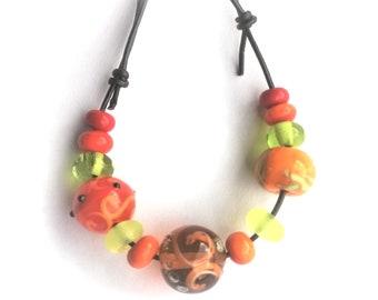 Handmade beads. - orange green - Multicoloured bead set /necklace/bracelet for vikings