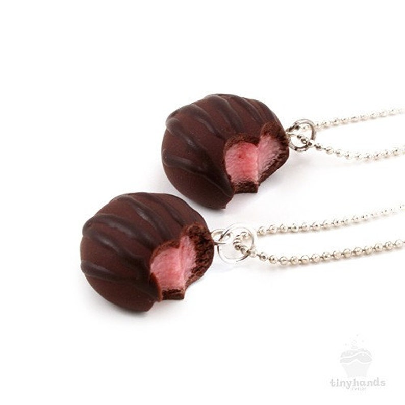 Food Jewelry Scented Cherry Chocolate Truffle Necklace Polymer image 0
