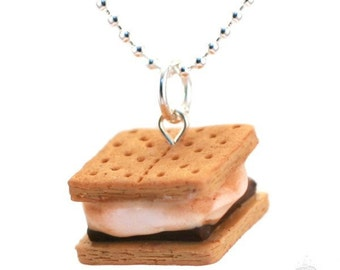 Scented Smores Necklace, BFF Smores Necklace, S'more Necklace, Miniature Food Jewelry, Kawaii Necklace, Smores Gift, Kawaii Clay Necklace
