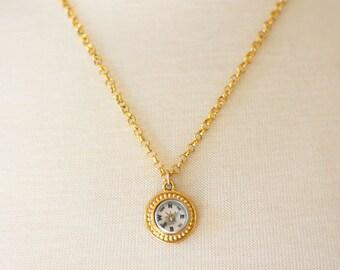 Gold Compass Necklace, Working Compass Necklace, Mini Compass Jewelry, Industrial Geek Nerd Gift, Wearable Tech, Wanderlust Traveler,SRAJD