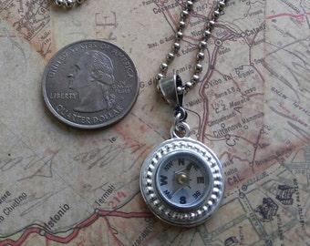 Silver Compass Necklace, Working Compass Necklace, Mini Compass Jewelry, Industrial Geek Nerd Gift, Wearable Tech, Wanderlust Traveler,SRAJD