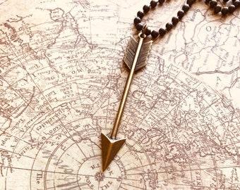 Arrow Necklace, Antiqued Brass Arrow Pendant, Sagittarius Gift, December Birthday Gift, Tribal, Graduation Gift, Direction, Guidance, Focus