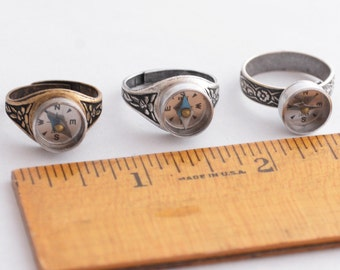 Silver Compass Ring, Working Compass, Steampunk Ring, Wearable Tech, Promise Ring, Industrial Gadget Geekery, Graduation Gift, Traveler Gift