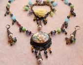Handmade Floral Jewelry Set, Boho Chic Floral Necklace Set, Vintage Style Parure, Purple Blue Green Necklace Bracelet Earrings Set, SRAJD
