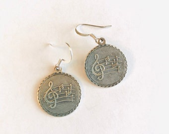 Musical Charm Earrings, Music Lover Gift, Musician Gift, Music Teacher Gift, Piano Teacher, Silver Earrings, Silver Jewelry, Songwriter Gift