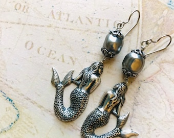 Mermaid Earrings, Beach Jewelry, Silver Mermaid Jewelry, Silver Earrings, Cruise Jewelry, Swimsuit Jewelry, Pearl Earrings, Silver Jewelry