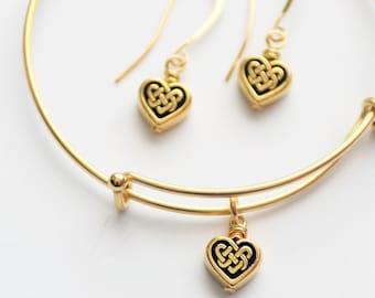 Gold Celtic Heart Jewelry Set, Gold Heart Expandable Bangle and Celtic Heart Earrings, Gold Bracelet Set, Celtic Jewelry, IrishJewelry Gift