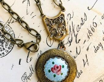 Floral Locket, Vintage Dresden Rose Guilloche Enamel, Wedding Something Blue, Rose Locket Necklace, Floral Necklace, Vintage Wedding SRAJD