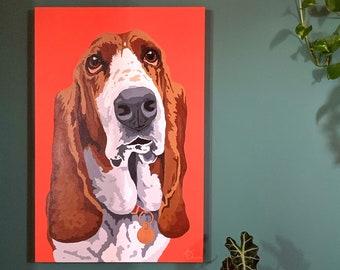 ORIGINAL gallery canvas painting - Basset Hound