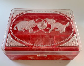 Hommer Sewing Box Marbled Plastic Kittens Cat Vintage Storage