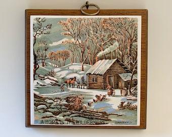 A Home In The Wilderness Tile Plaque Japan Vintage Trivet Wall Art