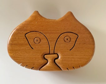 Wood Kitty Cat Puzzle Trinket Box Carving 4 Pieces Vintage