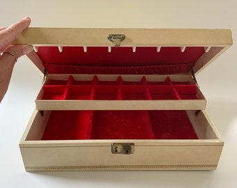 Jewelry Box with Key Made in Canada Red Velvet Lining Interior Vintage