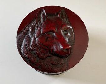 Boma T.R. McPhee Wolf and Wheat Native Mahogany Resin Trinket Box Art