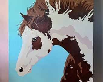 """LUCKY HORSE Large Original Painting 36"""" x 48"""" on Gallery Canvas 2006"""