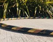 Beginner Hula Hoop // Black & Gold Sparkle Geometric Dance Hoop // Handmade Fitness Hoop