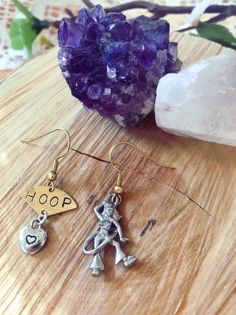 Mismatched Hoop Heart Earrings // Hula Hoop Girl Earrings image 0