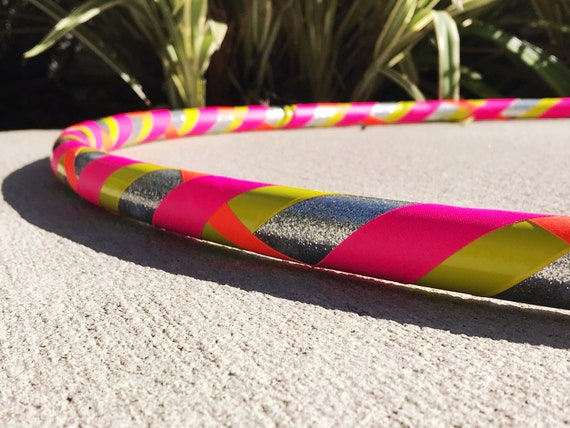 Beginner Hula Hoop  Silver Glitter /& Neon Dance Hoop  Handmade Fitness Hoop