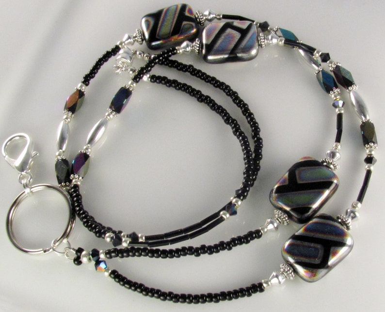 Beaded Lanyard FLAIR  Glass Beaded ID Badge Holder nurse gifts teacher gifts geometric lanyard