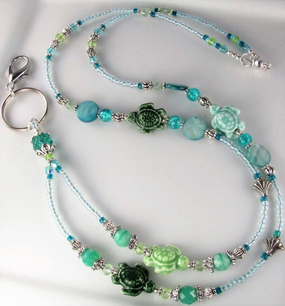 Breakaway Optional Pastel Silver Chain Beaded ID Badge Holder Pastel Porcelain Beaded Chain Lanyard