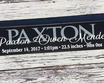 Personalized Birth Announcement Signs | Birth Stats | Baby sign | Birth Announcement | wood sign | Nursery | Baby | Children |Style# CH2