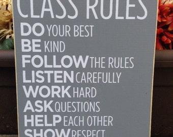 Class Rules, Teacher sign, Teacher Appreciation, Wood Sign, Plaque, classroom decor, school, Style TA10