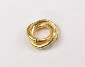 Bali Gold Vermeil 11mm Large Hole Love Knot Ring Twist Spacer Beads, Gold Vermeil over Sterling Silver, Jewelry Findings  (4 beads)