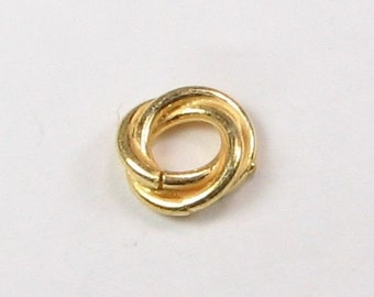 Bali Gold Vermeil 10mm Large Hole Love Knot Ring Twist Spacer Beads, Gold Vermeil over Sterling Silver, Jewelry Findings  (4 beads)