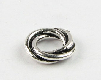 9mm Large Antiqued Bali Sterling Silver Large Hole Bead, Love Knot Bead, Twist Spacer Beads, Triple Ring Beads (4 beads)