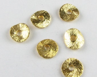 8mm Gold Bali Vermeil Brushed Curved Potato Chip Disc Beads, Jewelry Findings (10 pieces)