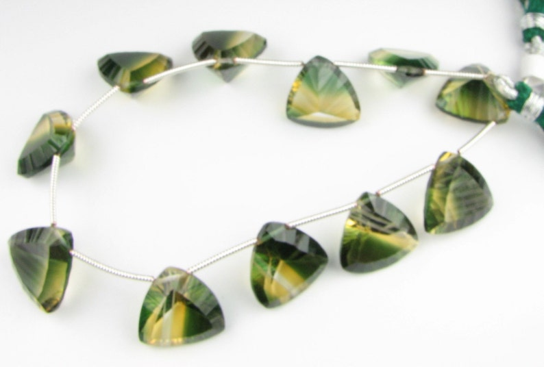 Matched Pair for earrings AAA Luxe Green and Yellow Quartz Concave Triangle Trillion Gems 15mm 16mm