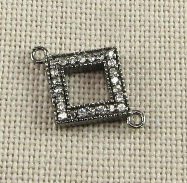 20mm Diamond Offset Square Black Rhodium over Sterling Silver and Pave Set White Topaz Loop Connector Ring Link 1 piece