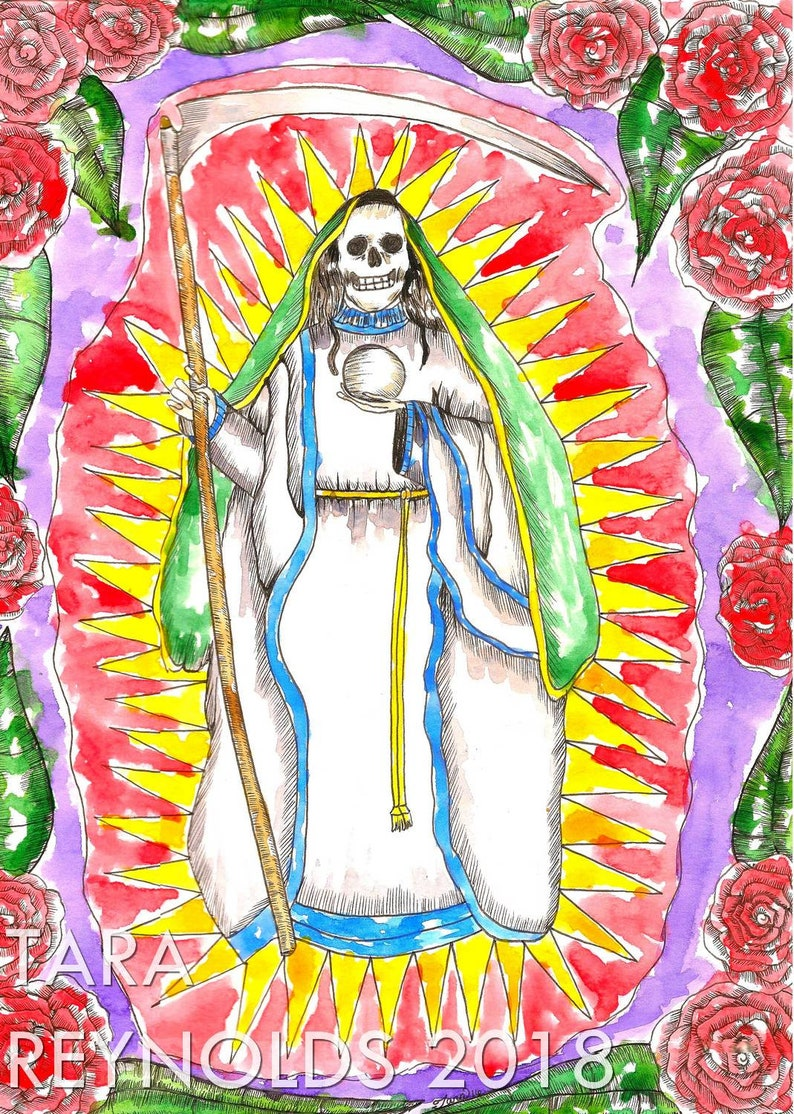 Spiritual Art Santa Muerte Art Print La Santisima Muerte Witchcraft  Santeria Mexican Folk Saint Occult Altar Art Pagan Goddess Art Hoodoo