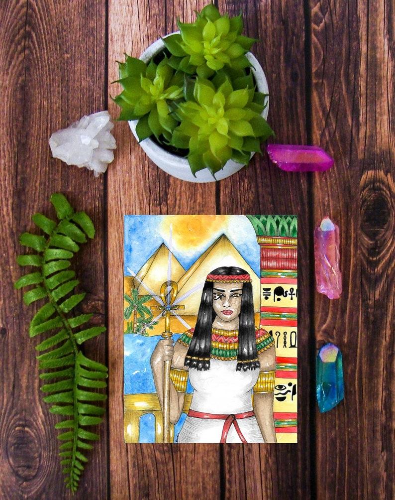 Goddess Art Egyptian Priestess Mini Art Print Kemetic Fantasy Ancient Egypt  Pagan Art Mythology Spiritual Art Sacred Divine Feminine