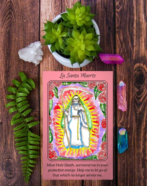 Santa Muerte Prayer Card La Santisima Muerte Spiritual Art Altar Supplies  Santeria Mexican Folk Saint Altar Art Pagan Goddess Art Hoodoo