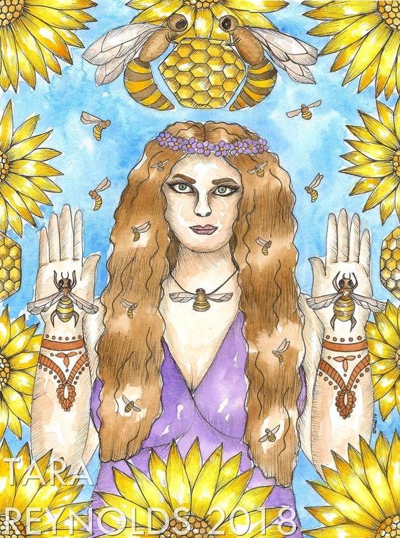 Goddess Art Bee Priestess Art Print Bee Art Greek Fantasy Art Mystical Art Divine Feminine Sacred Spiritual Art Pagan Mythology