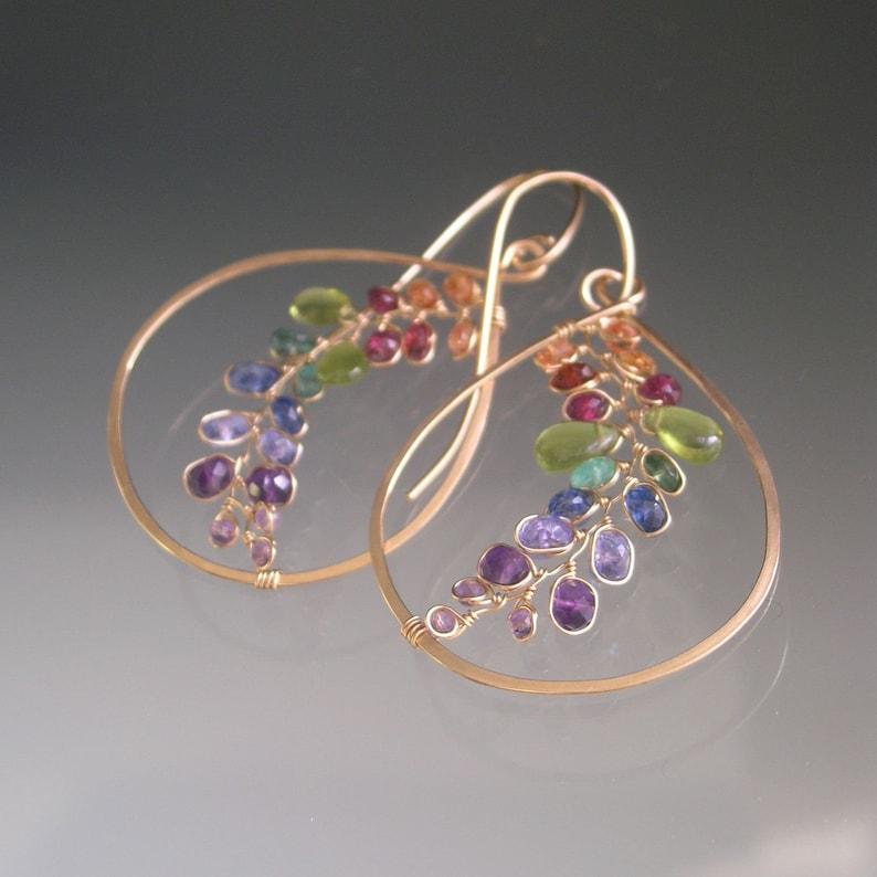Rainbow Vine Teardrop Hoops Colorful Chakra Gem Earrings Lightweight Dangles Sapphire Vesuvianite Kyanite Modern Bohemian Artisan Designed