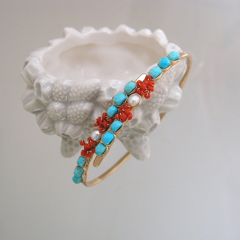 Hand Wrought and Wire Wrapped Stackable Bangle with Vintage Coral Turquoise 14k Gold Filled Bracelet