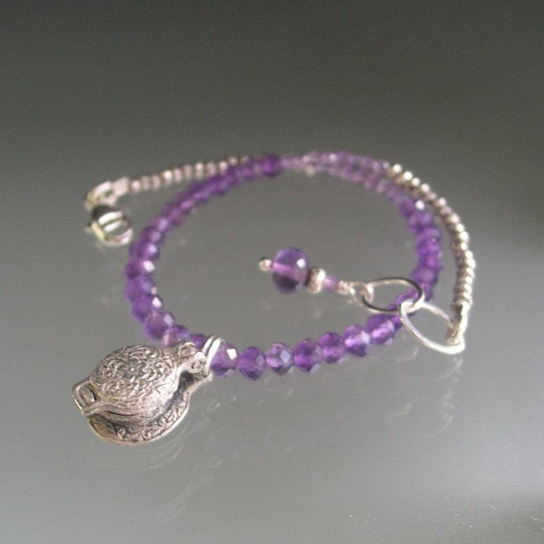 Amethyst Silver Bracelet Vintage Sterling Opening Waffle Iron Charm Skinny Purple Beaded Bracelet Baker/'s Jewelry Artisan Designed