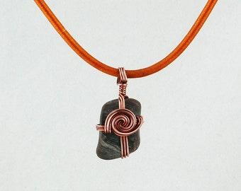 Cape Cod Beach Stone Pendant, Wave wrap pendant, Gift wrap Pendant, Infinity Pendant,Beach Stone Jewelry, Women's Stone Pendant