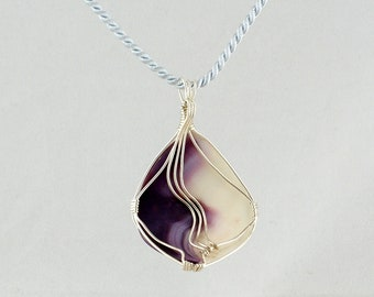 Cape Cod Shell Pendant, Wampum Shell Pendant, Sterling and Shell Pendant, Reversible Shell Pendant, Purple Wave Shell Pendant