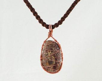 Beach Stone Pendant, Wire weave pendant, Rustic stone pendant, Cape Cod Beach stone pendant,Large stone pendant, Copper and Stone Pendant