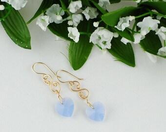Gold and Crystal heart earrings, Heart earrings, Blue heart earrings, Gold drop earrings, Spiral earrings, Gold wire earrings